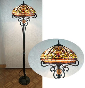 BEAUTIFUL-HANDCRAFTED-TIFFANY-STYLE-STAINED-GLASS-FLOOR-LAMP