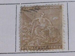 1881-Cape-of-Good-Hope-2-Penny-Bistre-Stamp-Used-Heavily-Hinged