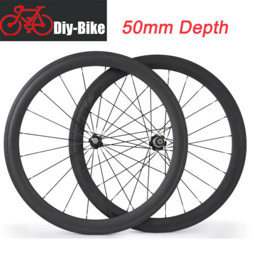 Ultra light 50mm Clincher Carbon Bike Wheels 700c  Road Bicycle touring wheelset