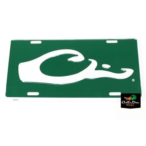 DRAKE WATERFOWL Authentic Duck Head Logo en métal vert Plaque D/'immatriculation Logo Blanc