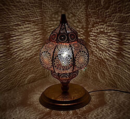 "Handmade Bedside Shade Lamp Table Floor Desk Metal Moroccan Lamp 12 x 7.5/"" Red"