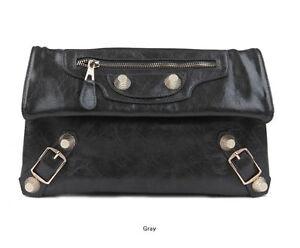 LR08-Dark-Gray-Gold-Studs-Fold-over-Motorcycle-Clutch-Bag-Women-Handbag-Purse