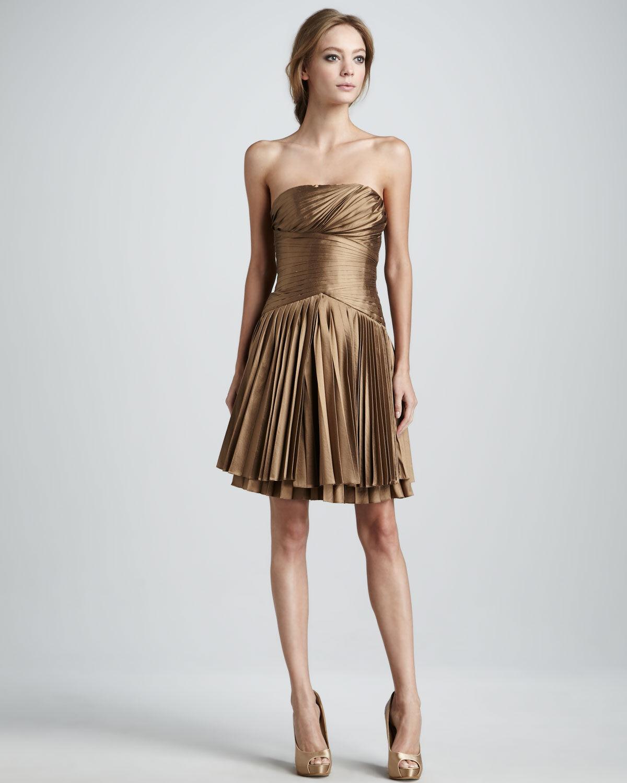 Nwt Halston Heritage Bronze Taftkleid Falten Trägerloses Kleid Sz.0