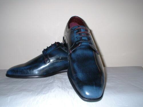 lucido 43 derby con blu scuro Scarpe Brogues London Brune in pelle lacci 9 qt1vc7gwx