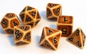 RPG-Wuerfel-Set-7-teilig-Poly-DND-Tabletop-Braun-dice4friends-Rollenspiel-w4-w20