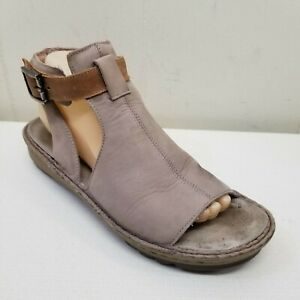 Naot VERBENA 9 Wedge Sandals Open Toe Leather Stone Latte Comfort Shoes