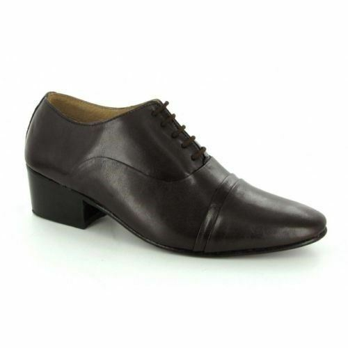 Lucini Formal Mens Cuban Heels Real Leather Lace Up Wedding Shoes Brown