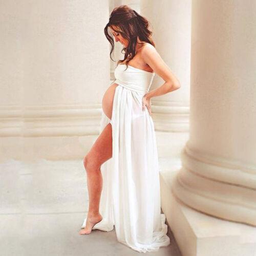 Schwangere Lang Maxikleid Umstandskleid Schwangerschaftskleid Fotoshooting Kleid