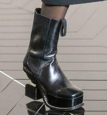 Punk Womens Square Toe Ankle Boots Real