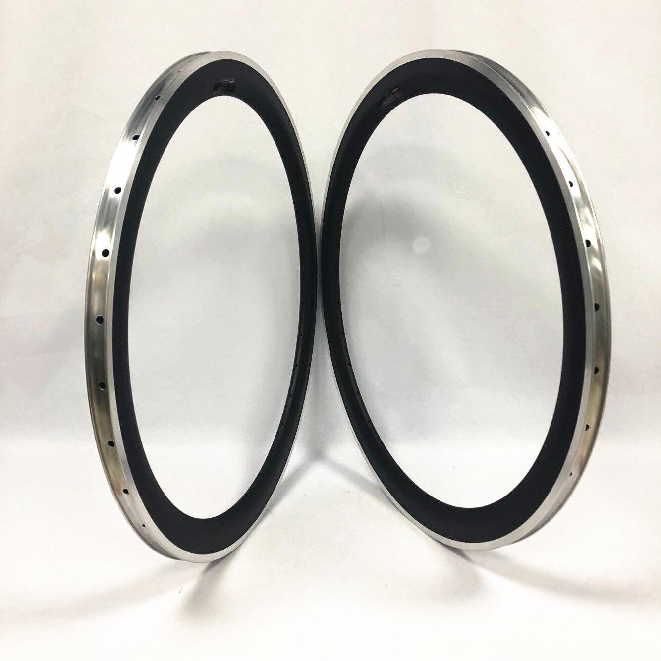 700C 23mm Breite 50mm Tiefe Klinker Carbon Felge mit Legierungsbremskante
