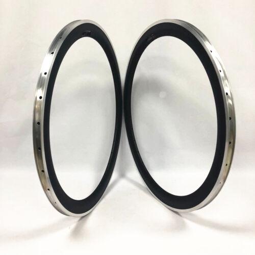 1 pair of 700C 23mm width 50mm depth clincher carbon rim with alloy braking edge
