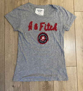 Abercrombie-amp-Fitch-Women-039-s-T-Shirt-Grey-Short-Sleeve-Large-100-Cotton