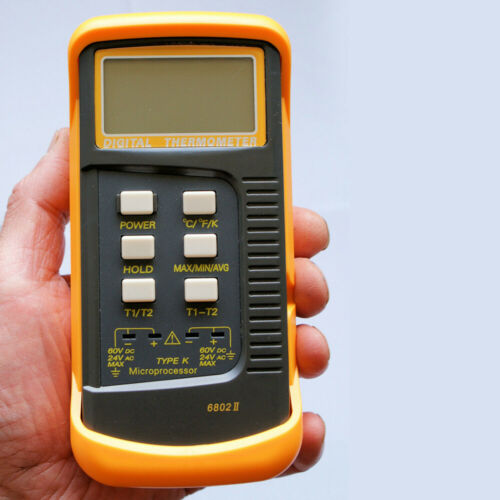 Dual Channel K-type Digital Thermocouple,Thermometer,6802 II,4x Probe BGA HVAC
