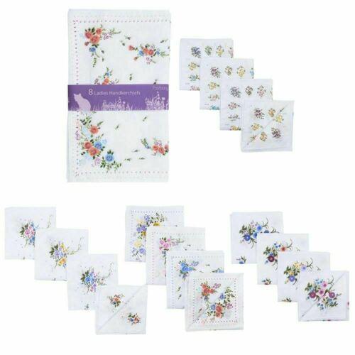 8 or 16 Pack Ladies Foxbury Handkerchiefs Hankies Floral Print Poly Cotton Gift
