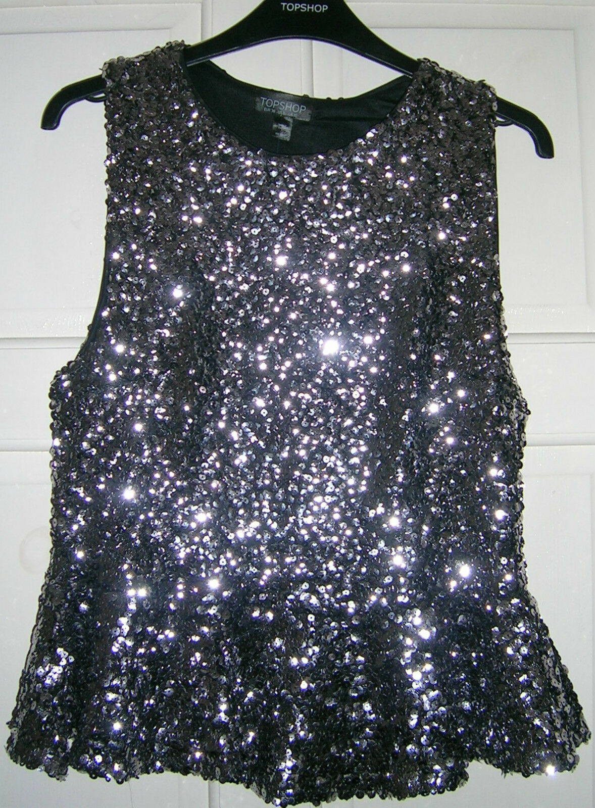 d1fbd84969 TOPSHOP SEQUINNED TOP UK SIZE 10 US 6 PEWTER PEPLUM nvximy7122-Tops ...