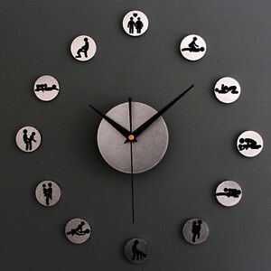Image Is Loading DIY Creative Funny Positions Stickers Wall Clocks Funy