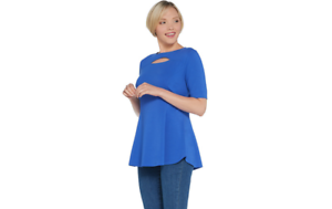 Isaac-Mizrahi-Live-Elbow-Sleeve-Cut-Out-Neck-Peplum-Tunic-Blue-Azure-XS-A310167