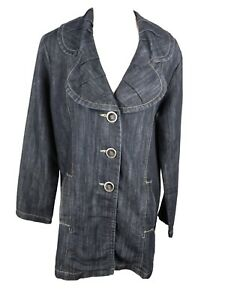 Baccini-New-Woman-039-s-Sz-L-Dark-Denim-Ruffle-Collar-Jean-Jacket-B24