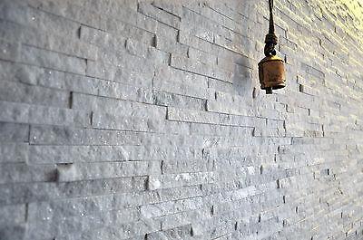 Split Face Natural Stone White Quartz Wall Cladding Tiles