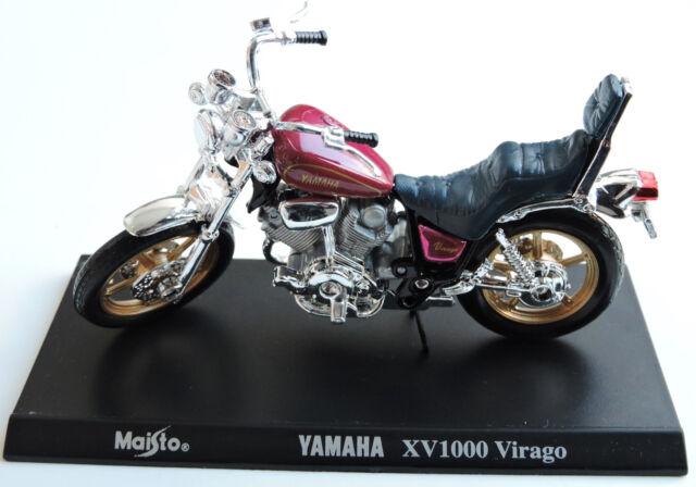 MAISTO RED BLACK YAMAHA XV1000 VIRAGO CRUISER STYLE MOTORCYCLE WITH STAND 1:18 S