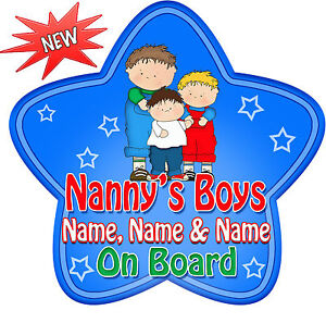 Personalised Grandchildren Child//Baby on Board Car Sign New Blue~Pink !