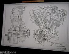 HARLEY DAVIDSON Shovelhead Engine Oil Map Blueprint Drawing poster print FL FX