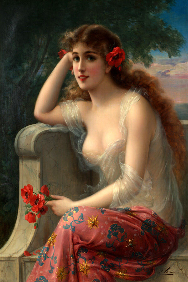 BEAUTIFUL YOUNG LADY FLOWERS ON rosso HAIR FASHION PAINTING BY EMILE VERNON REPRO