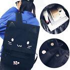 1Pcs Cute Cat School Bag Embroidery Cartoon HOT Canvas Backpack Casual Black
