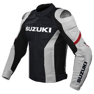 Suzuki-GSXR-Motorcycle-Jackets-Biker-Racer-Leather-Motorbike-Sports-Protective