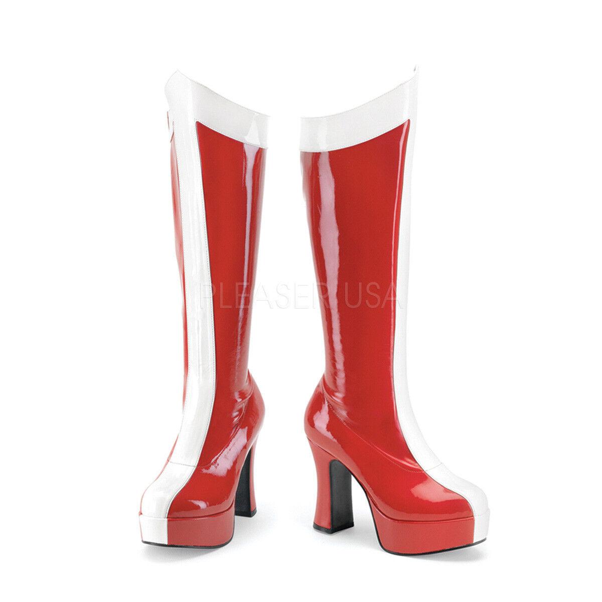Red White Wonder Woman Cosplay Platform Platform Platform Costume Knee High Boots size 7 8 9 10 11 e453d8