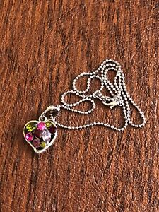 Vintage-Multi-Colored-Rhinestone-Heart-Pendant-amp-Silver-Tone-Chain-15