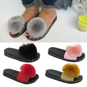 Ladies Fur Fluffy Pom Pom Sliders Women