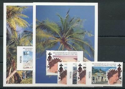 Thronjubiläum Queen 270260 Nevis Nr.653-6+block 42-43** 40