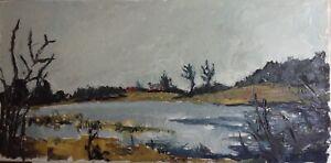 Grand Tableau ancien Paysage au Lac Huile sur toile style OSTERLIND
