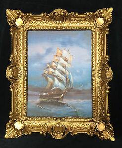 VOILIER-MER-MARITIME-baroque-schiffsbild-57x47-Tableau-mural-amp-Cadre-bateau