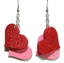 PINK & RED GLITTER HEART VALENTINE DANGLE EARRINGS (H214)