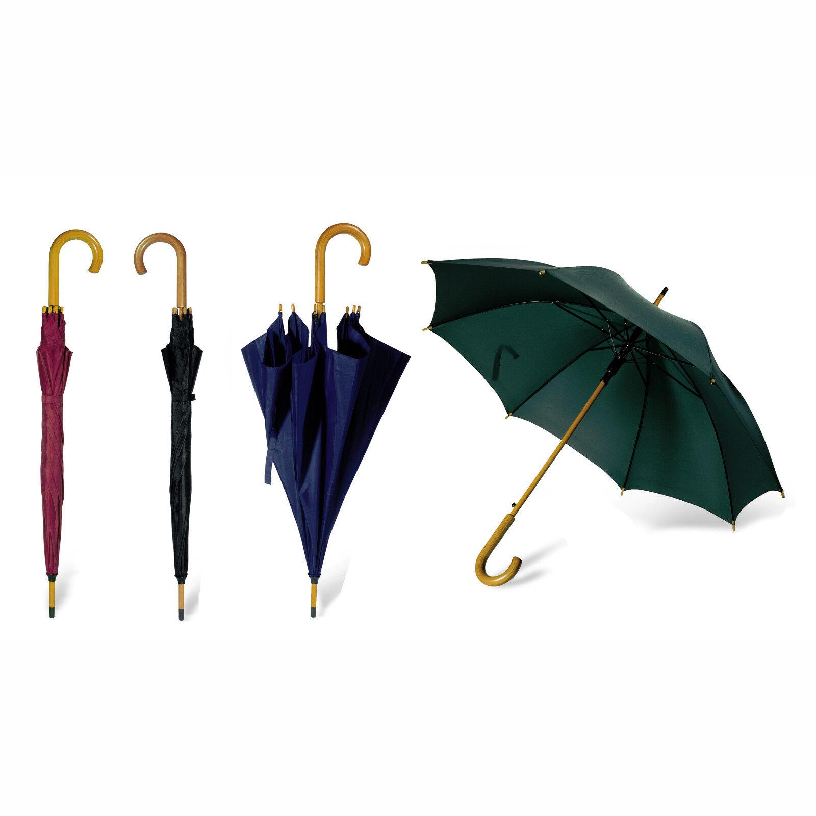 107cm Klassischer Regenschirm - Holz Gebogener Griff Automatisch Klebe Wandern
