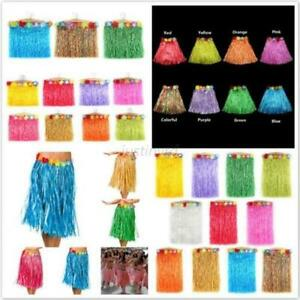 Hot-Kids-Adult-Hawaiian-Hula-Grass-Skirt-Flower-Wristband-Party-Beach-Dress-HQ
