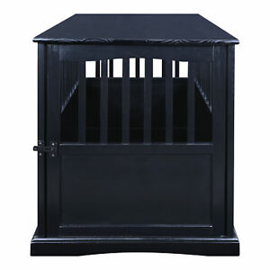 Large Wood Dog Crate End Table Indoor Kennel Cage Pet Bed Furniture House Black