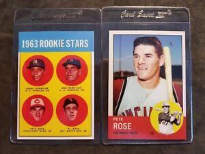 Pete-Rose-Cincinnati-Reds-1963-rookie-lot-2-Baseball-Cards-Free-Shipping