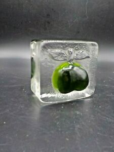 Chunky-Mid-Century-Art-Glass-Green-Apple-Ice-Cube-Paperweight-Iittala