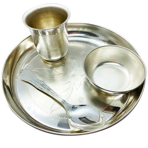 Silver Plated Prasaad Bhog Pooja Offering Thali Set with Glass Bown and Spoon