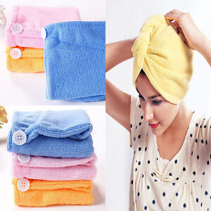Lady Hair Wrap Head Towel Turbie Turban Twist Drying Cap Loop Button Hat  RAS
