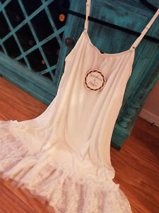 2X-3X-White-Lace-Hem-Layering-Tunic-Tank-Top-Boho-Womens-Plus-Size-Extender-Slip