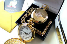 Merchant Navy REAL GOLD Plated Pocket Watch LUXURY Gift Case Crested Badge Fob