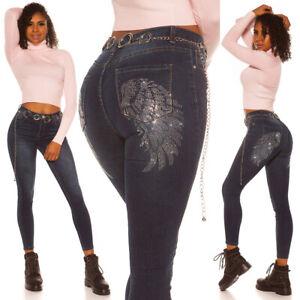 Jeans High Waist Ladies Skinny Jeans Denim Pants With Angel Wings Rhinestones