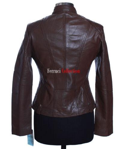 Vera New Stile In Pelle Giacca Di Agnello Rock Brown Jasmine Ladies Motociclista Chic pEwnqzpXH8
