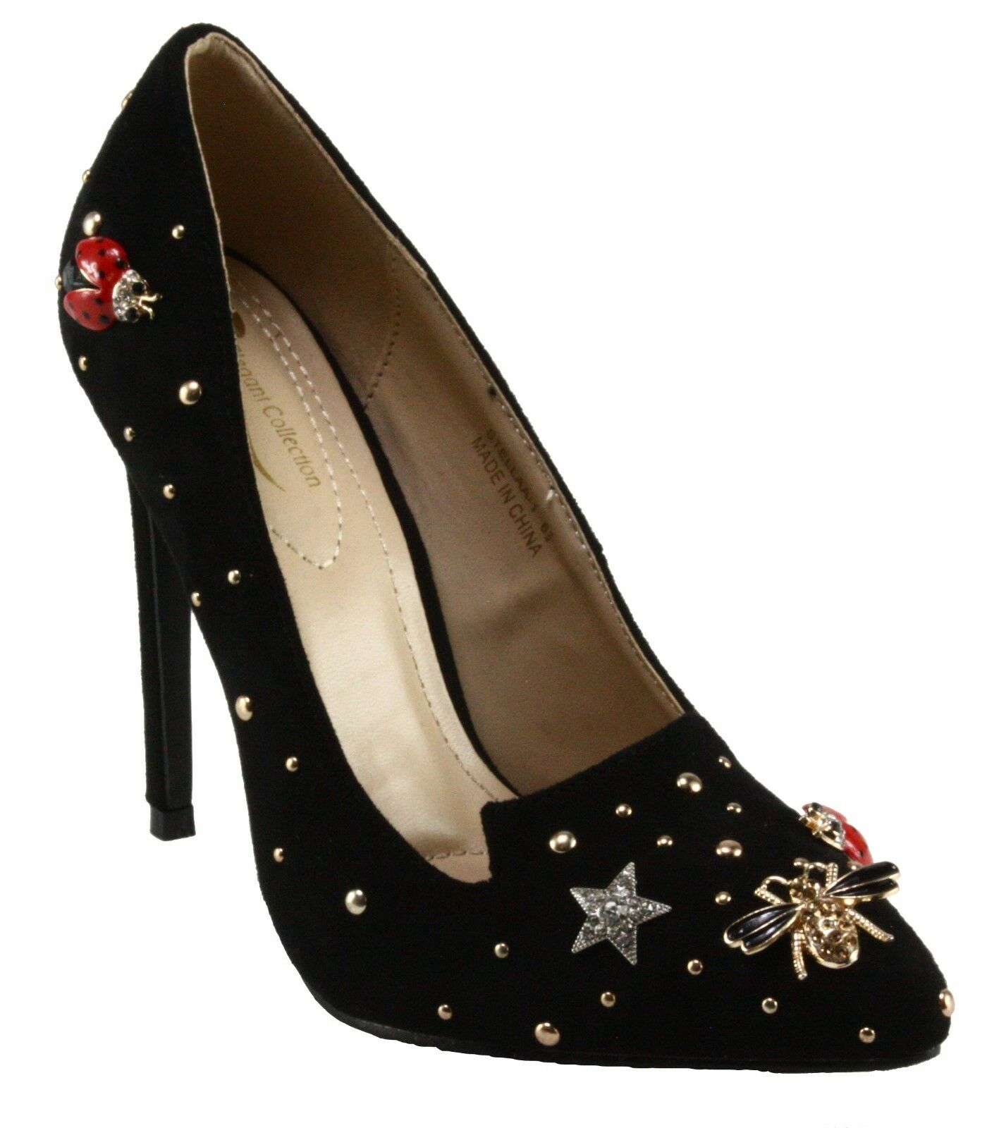 Elegant Stellaa-1 Faux Suede Pointy-toe Metallic Studded Decor High Heel Pumps