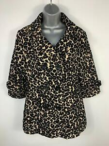 WOMENS-MISO-BROWN-ANIMAL-PRINT-BUTTON-UP-WINTER-CASUAL-JACKET-OVER-COAT-SIZE-12