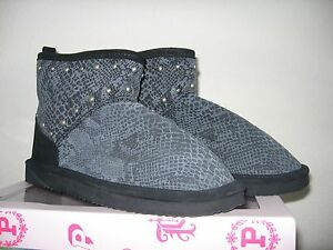 c4b3b0763f346 Details about VICTORIA'S SECRET Mukluk Booties Slippers Fur Lined Gray  Snakeskin Stud S (5-6)